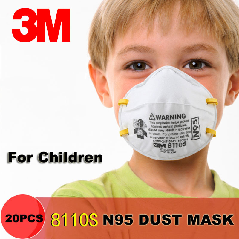 3M 8110S N95 Children Dust Mask Anti-particles PM2.5 Particulate Respirator Small Masks Safety Breathing Masks 20 Pcs/box