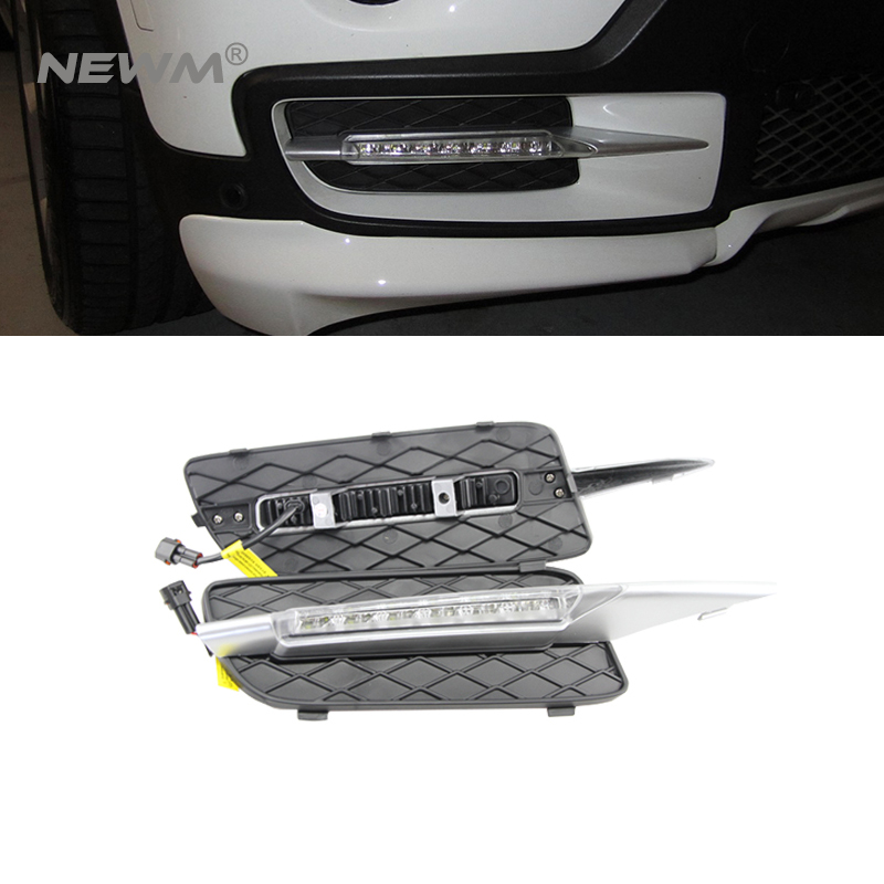 High Birght 12W CREE Chip New Update E70 X5 LED Daytime Running Light Waterproof LED DRL Fog Car Lights for BMW E70 07-09 ветровики skyline bmw x5 e70 07