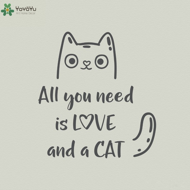 Animal Wall Decal Quotes All You Need Is Love And A Cat Vinyl Wall