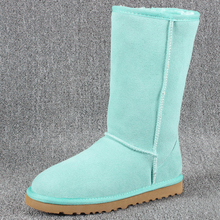 2017 de Alta Calidad Para Mujer Warm Winter Botas de Nieve Botas de Cuero Genuino Zapatos planos de La Mujer de Piel Caliente Botas Mujer Más Tamaño 35-44 Caliente