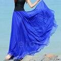 Новый длинная юбка женщины поставлена юбки империи юбка чешские цветочные voile шваброй пол показать тонкие шифон джокер бюст юбки летом