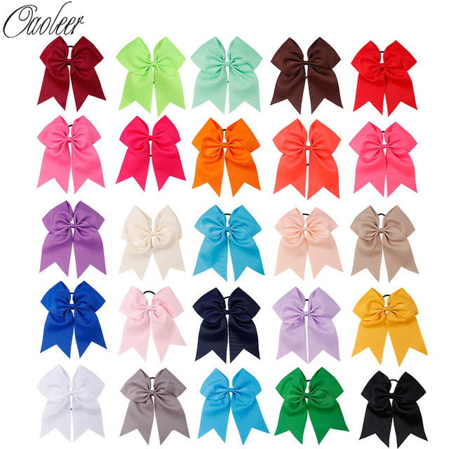 25pcs/lot 8'' Large Cheer Bow With Elastic Band Handmade Solid Ribbon Cheerleading Girls Ponytail Hair Holder Hair Accessories