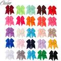 25pcs/lot inch Large Cheer Bow With Elastic Band Handmade Solid Ribbon Cheerleading Girls Ponytail Hair Holder Hair Accessories