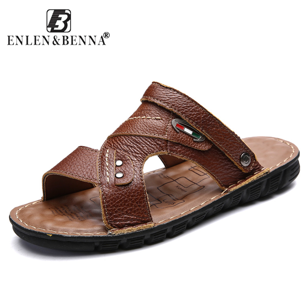 Summer Genuine Leather Sandals Causal Men Shoes Beach Elastic Slippers Roman Male Rubber Sole Sandals Native Shoes Large Shoes