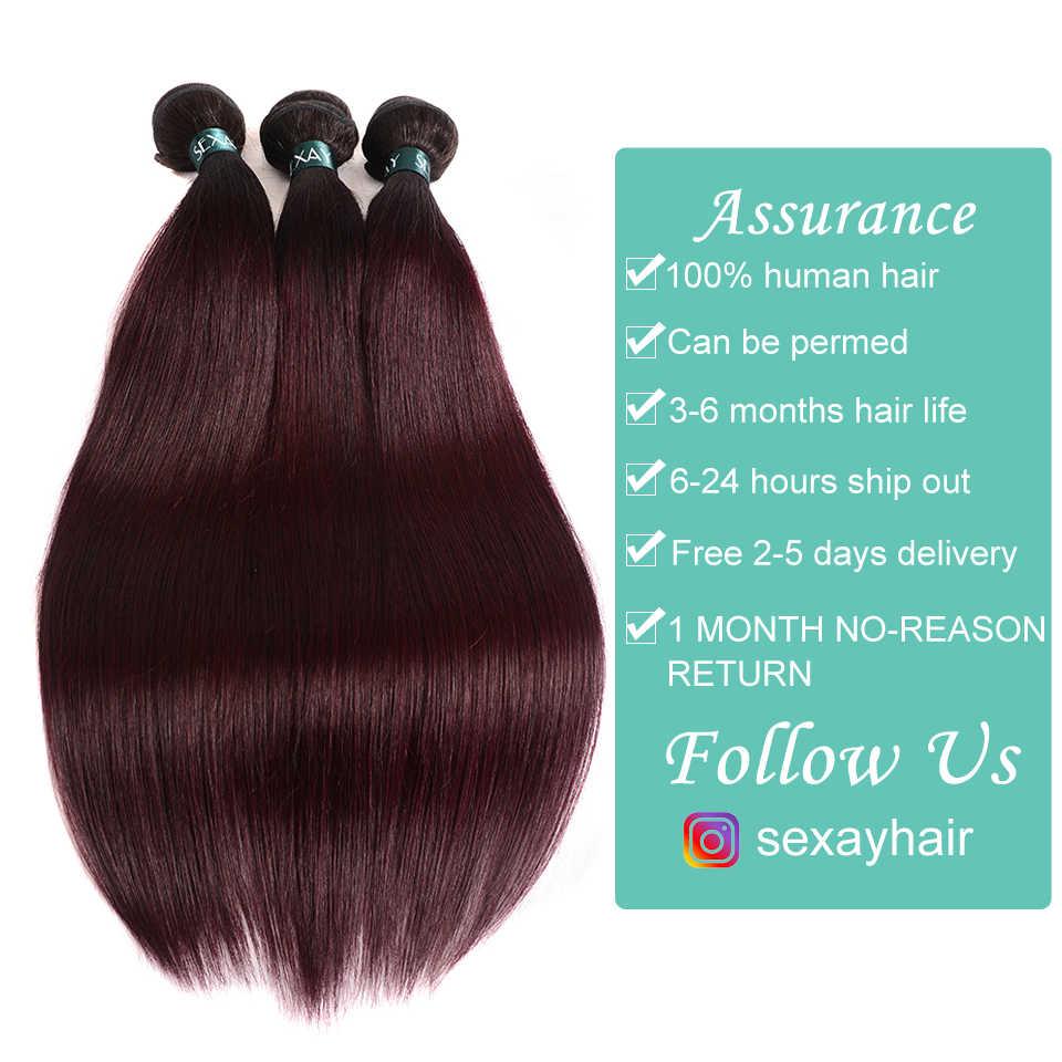 Ombre волосы 3 Связки с закрытием Sexay Professional 1B/99J бордовый темно-красное вино 100% человеческие волосы бразильские прямые человеческие волосы