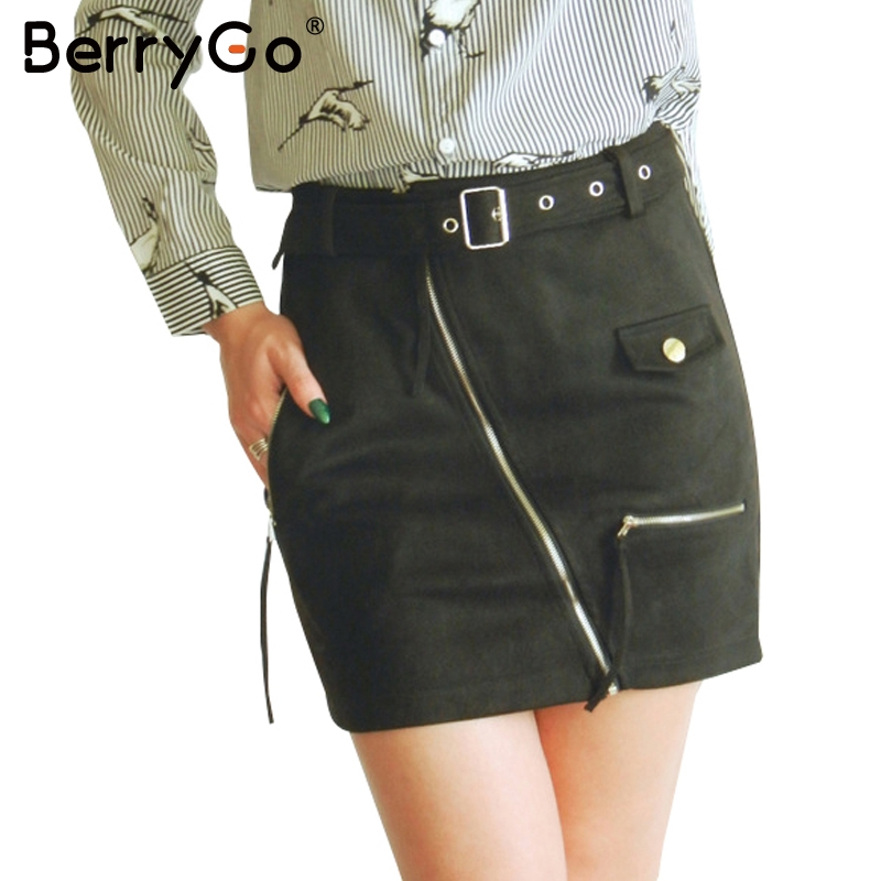 BerryGo Sexy suede zipper motorcycle mini skirt women Streetwear belt pencil skirt 2017 fashion autumn winter short skirt female