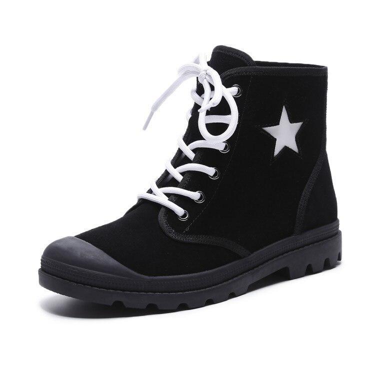 [Dai Yun] 2017 Winter fashion new matte round toe leather retro British style five-star pattern  boot woman V884