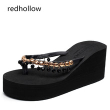 Woman Slippers High Heels 7CM Beach Flip Flops Summer Sandals Bohemia Slippers Wedges Platform Sandals Ladies Shoes Female woman slippers beach flip flops summer sandals wedges bohemia slippers ladies platform sandals high heels shoes female