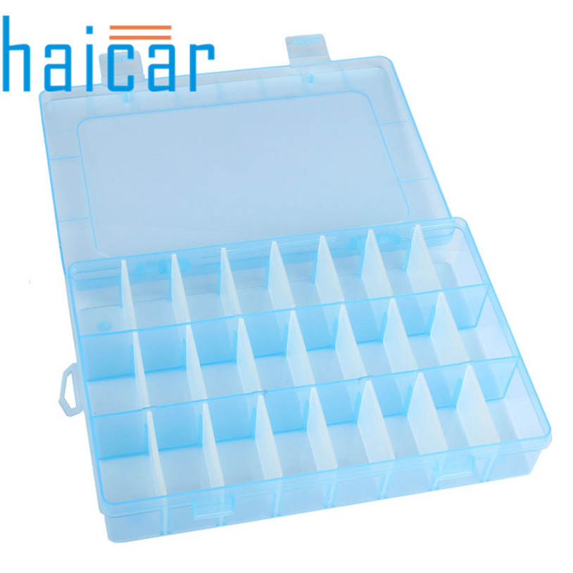 HAICAR Practical Adjustable Plastic 24 Compartment Storage Box Case Bead Rings Jewelry Box Invisible Display Organizer