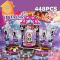 Minitudou Amigos Pop Star Mostrar Etapa Ensamblar Juguetes Bloques de Construcción Establece 448 unids Compatible Con Amigo para Chicas Regalos