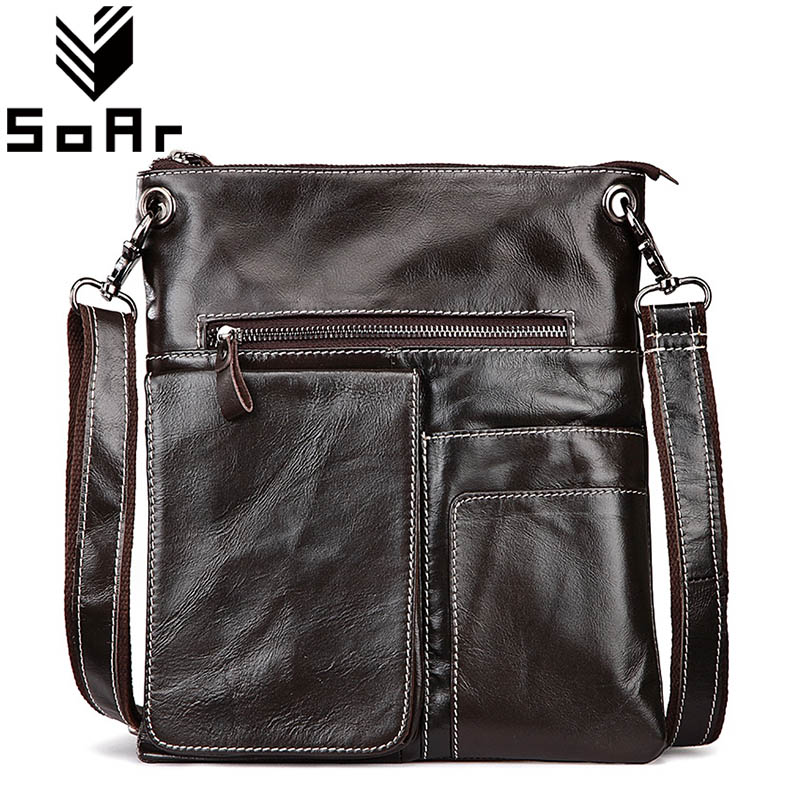 SoAr Man Bag Messenger Briefcase Genuine Leather Cowhide Men Shoulder Bags New Designer Handbags Male Travel Bags Vintage Style