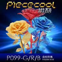 Piececool DIY 3D puzzle metalowe Model czerwony turkusowo-złota romantyczna róża instrukcja montażu wyrzynarki edukacyjne zabawki dla dorosłych prezenty dla zakochanych