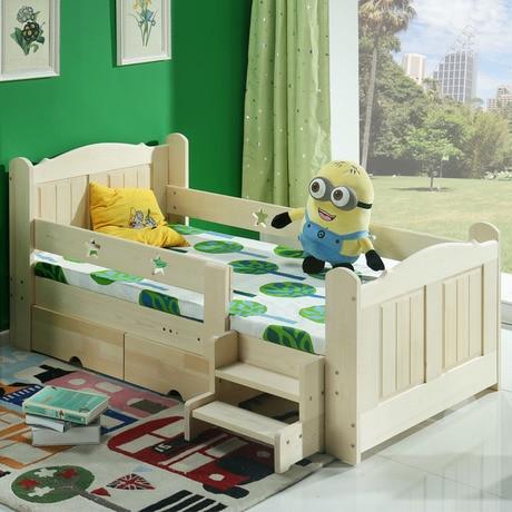 Los ni os camas para ni os muebles para ni os de madera maciza cama con barandas de cajones y - Camas con tobogan para ninos ...