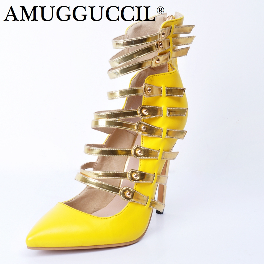 2018 New Plus Big Size 34-47 Yellow Multi Buckle Zip Fashion Sexy High Heel Spring Summer Female Lady Shoes Women Pumps D1177