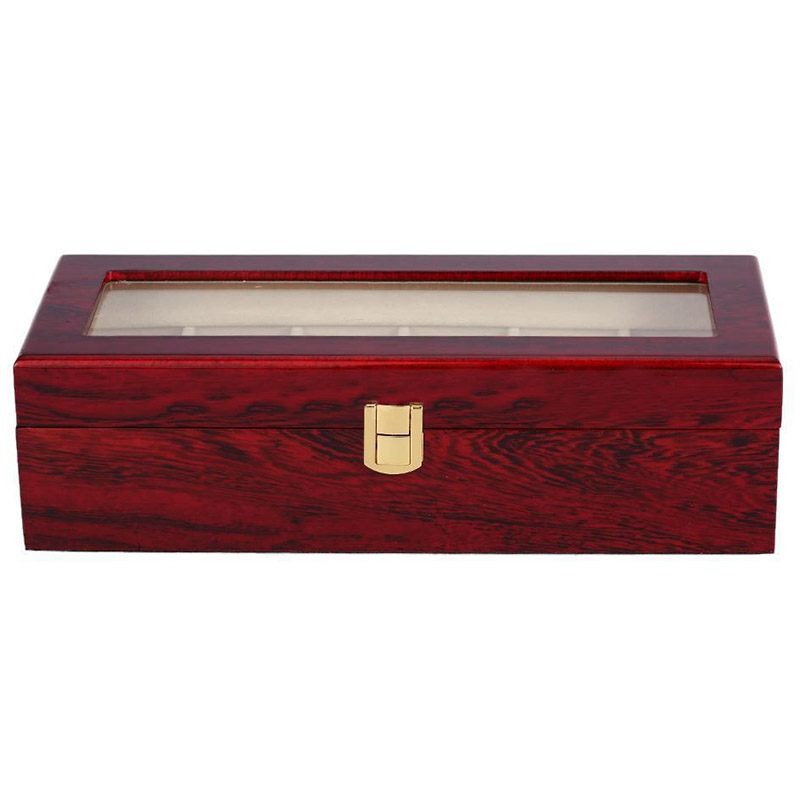 6 Slots Wood Watch Display Case Box Glass Top Jewelry Storage Organizer Gift Men цена