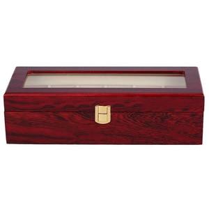 Image 1 - 6 Slots Wood Watch Display Case Box Glass Top Jewelry Storage Organizer Gift Men