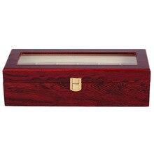 6 Slots Wood Watch Display Case Box Glass Top Jewelry Storag