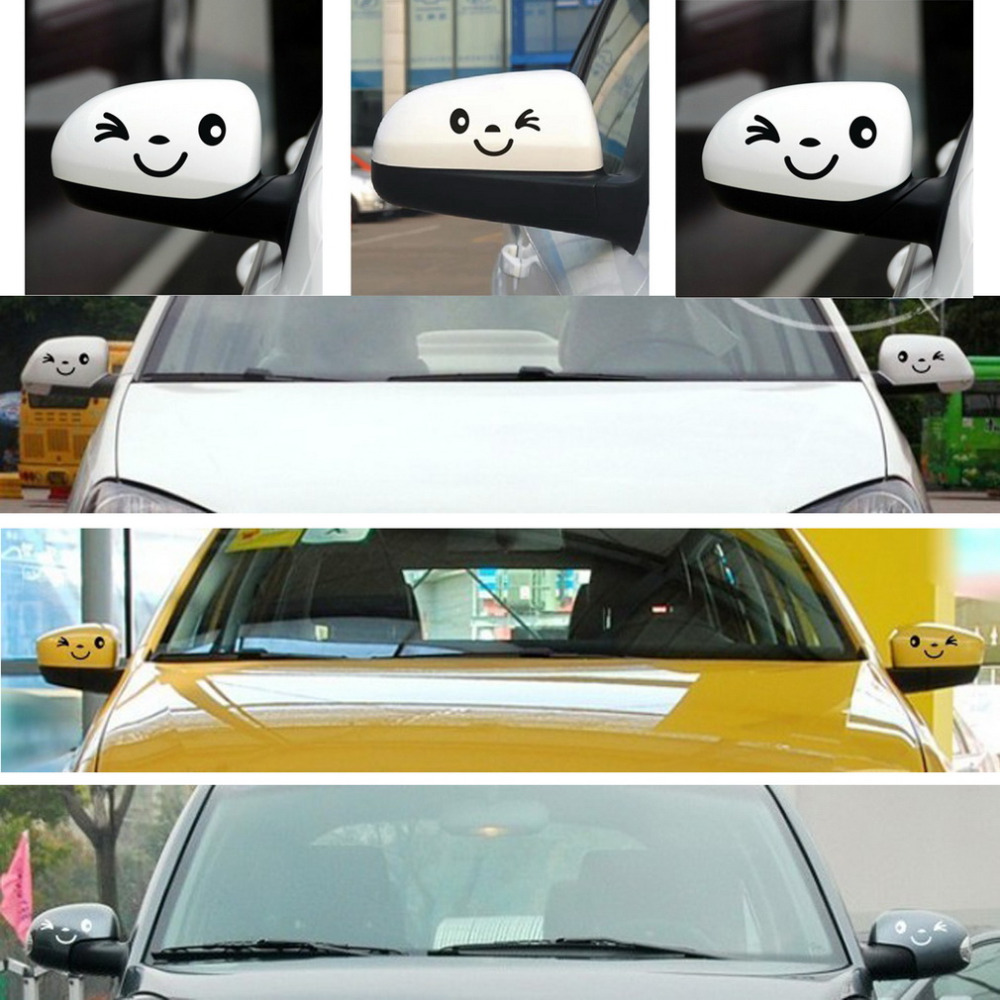 Car mirror sticker design - Online Shop Waterproof 2 X New 3d Design Smile Face Decoration Decal Sticker For Car Side Mirror Rearview Auto Car Styling Car Sticker Aliexpress Mobile
