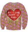 Tudo o Que Me Importa é queijo De Pizza Moletom rosa 3d Imprimir Pull Suores Mulheres Homens Moda Roupas Topos de Jumper Suam