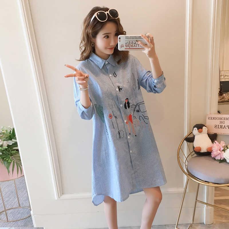 Весна Модный корейский стиль платье в полоску 2019 новый дизайн свободные вышитые для женщин