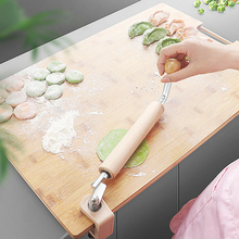 Wooden Rolling Pin Dumpling Skin Maker Roller Fixed Adjustable Labor-saving Kitchen Baking Tool With Stainless Steel Handle