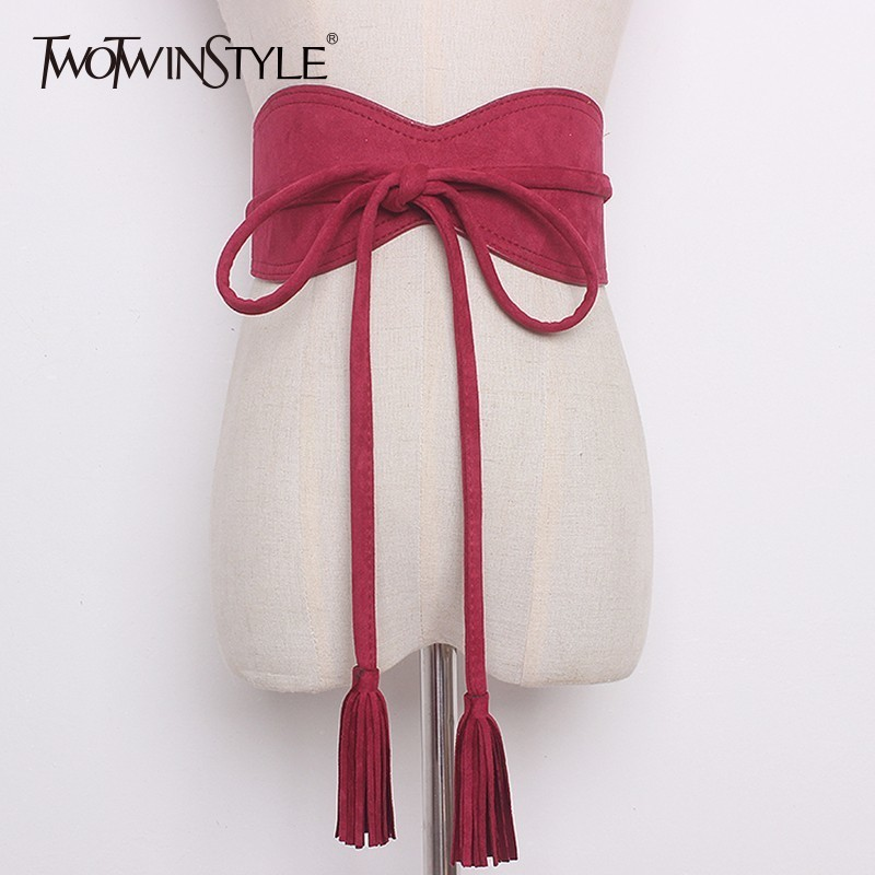 GALCAUR Suede Belt Female Bow Lace Up Tassel High Waist Irregular Wide Belts Summer Fashion Vintage Womens Accessories