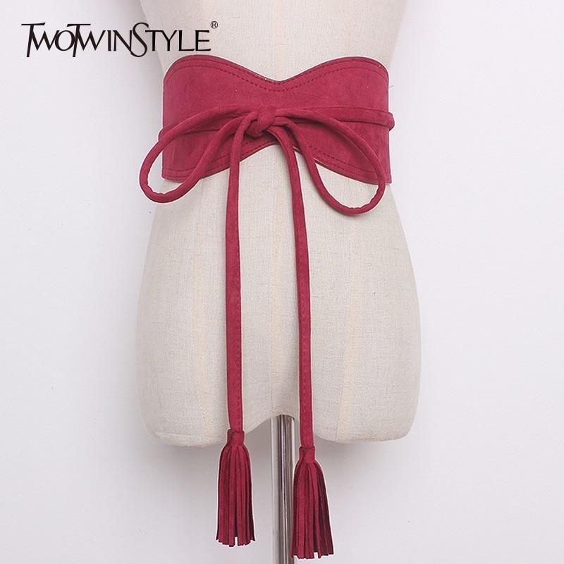GALCAUR Suede Belt Female Bow Lace Up Tassel High Waist Irregular Wide Belts Summer Fashion Vintage Womens Accessories