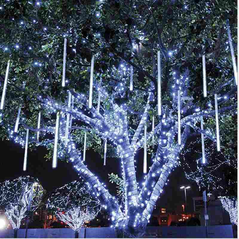 Urijk UK/AU Plug Multi-color 30CM 8PCS Meteor Shower Rain Tubes LED Christmas Lights Wedding Garden Xmas String Light Outdoor