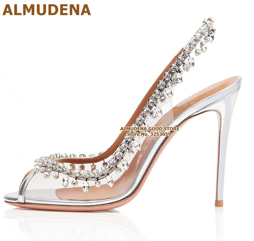 ALMUDENA Graceful Silver Clear PVC Crystal Wedding Shoes Open Toe Elastic Band Slingback Fringe Bling Rhinestone