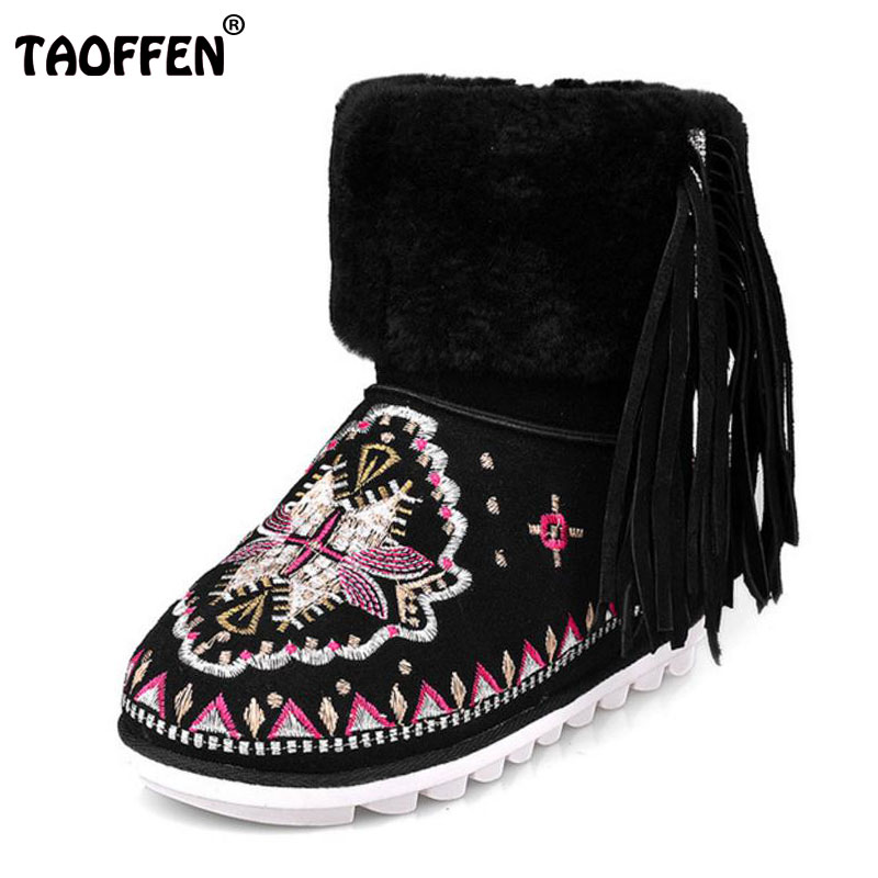 TAOFFEN Size 34-39 Women Half Short Flats Boots Embroidery Tassel Boots Thick Fur Warm Shoes Winter Botas Woman Footwears wisted x boots cowboy boots only size 11 left eur size 42 knight boots tassel short boots