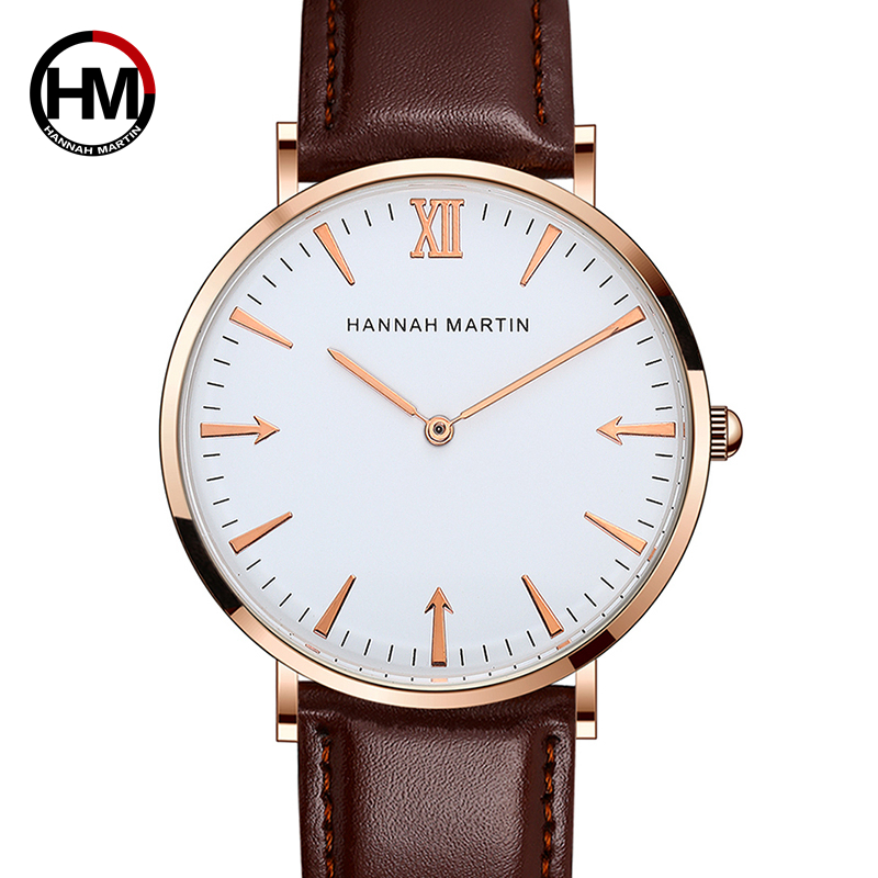 Hannah Martin Creative Arrow Dial Men Watch Leather Strap Casual Sports Quartz Wrist Watches Rose Gold Watch Relogio Masculino