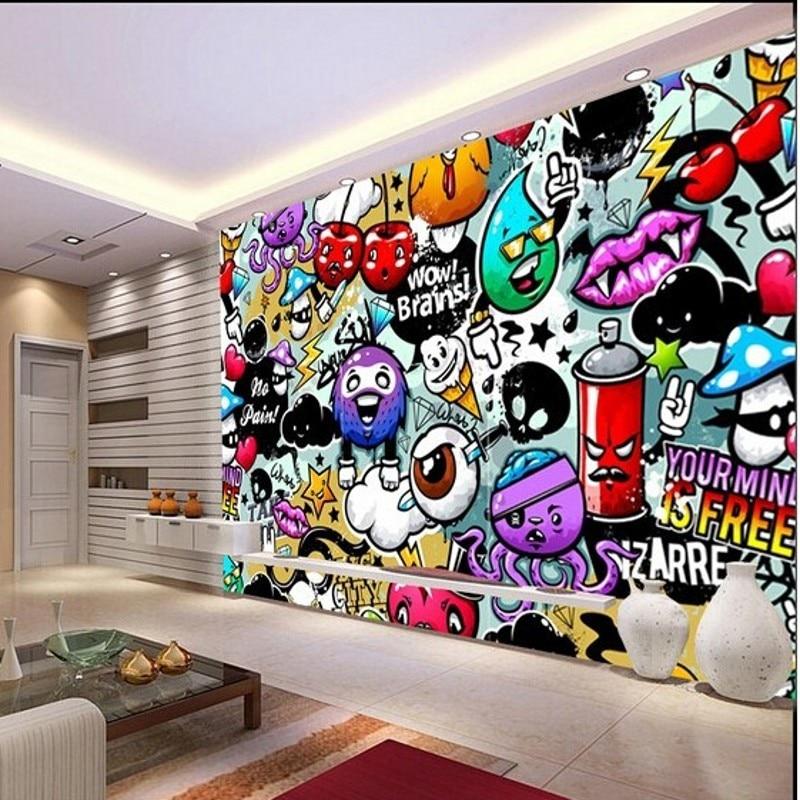 Graffitis murales animados for Mural pared personalizado