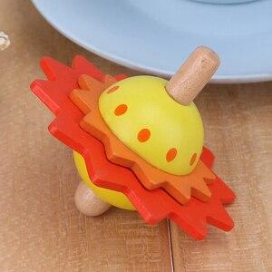 Image 5 - Enfants jouets en bois fleur rotation toupie en bois jouets classiques pour enfants enfants développer Intelligence éducation Montessori jouets