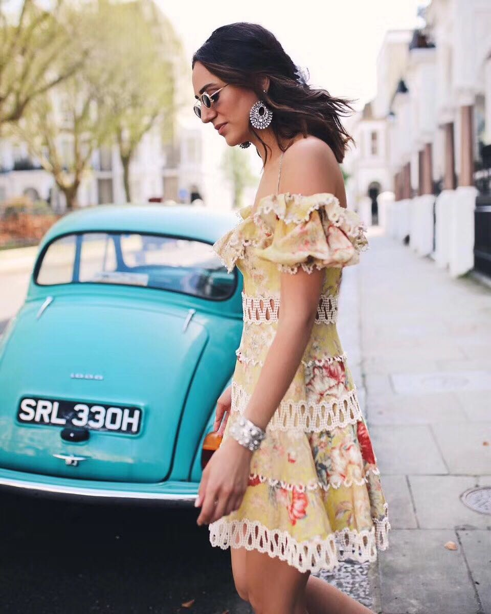 Manches As Mini Show Picture Et Lin Coton Femmes Court Épaule Évider Imprimé Blouson Robe Mélodie Off Floral Moutarde aOq8Z