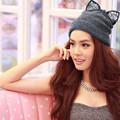 New 2017 Winter Womens Hat Warm Caps Lace Diamond Devil Cat Ear Hat Crochet Braided Beanies Gorros Knitted Cap Skullies Bonnet