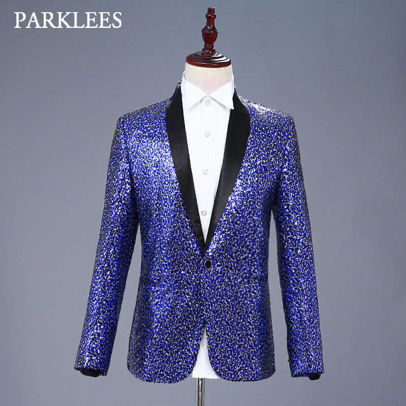Shiny Silver Blue Sequins Blazer Jacket Men Shawl Lapel One Button Mens  Dress Suit Stage Prom 9724e426a867
