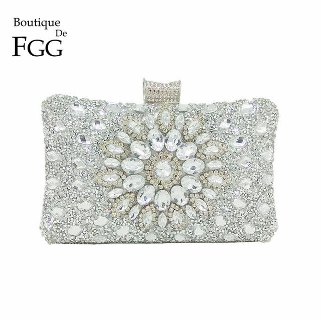 Boutique De FGG Deslumbrante Flor De Cristal De Prata Mulheres Bolsa de Noite de Embreagem De Metal Minaudiere Bag Wedding Party Nupcial Bolsa Tote