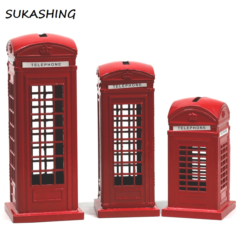 London Telephone Booth Red Die Cast Money Box Piggy Bank UK Souvenir Great Gifts for Kids