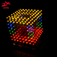 DIY 3D 8S LED Multicolor Light Cube With Animation Effects 3D CUBE 8 8x8x8 3D LED