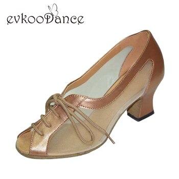 السيدات ضوء تان الأسود منخفض كعب 4 سنتيمتر ممارسة الصلصا اللاتينية قاعة الرقص الأحذية النساء NL029