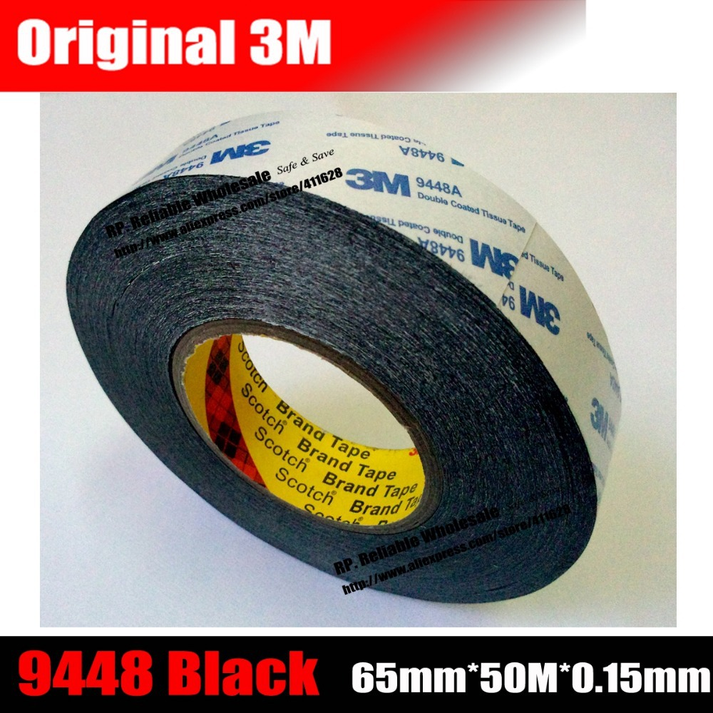 (65mm*50M*0.15mm) 3M9448 Black Double Sided Coated Tissue Tape, Strong Adhesion for Foam, Display, Rubber single sided blue ccs foam pad by presta