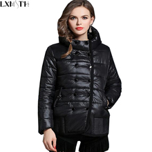 XL-5XL Winter Jacket Women 2017 Fashion Slim Short Cotton-padded Hooded Jacket Parka Female Light Thin Wadded Jacket Outerwear