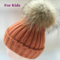 2016 kids Winter Hat 100% Real Raccoon Fur pom pom Ball Baby Beanies hat for Children Warm Wool beanie cap for boys and girls