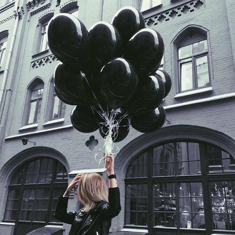 10 pçs/lote 18 polegada Branco Preto Estrela Balões Folha de Aniversário Festa de Casamento Decoração Suprimentos 2.3g de Hélio Globos Brinquedos Do Bebê balões