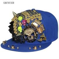 GBCNYIER Cool Man Fashion Leisure Baseball Cap Hip Hop Cool Sport Flat Brim Hat Skull Hiphop Cool Female Dance Show Cap 5pcs