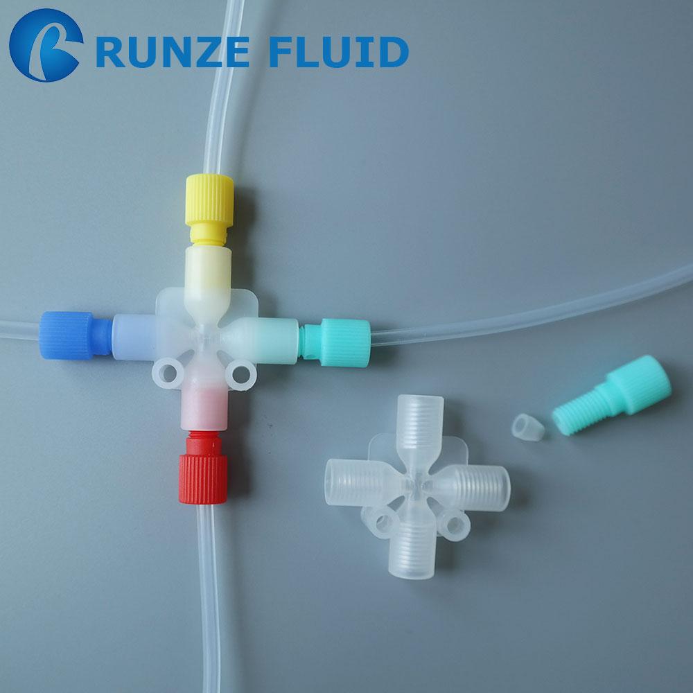 Unf plastic tube connector cross square quick
