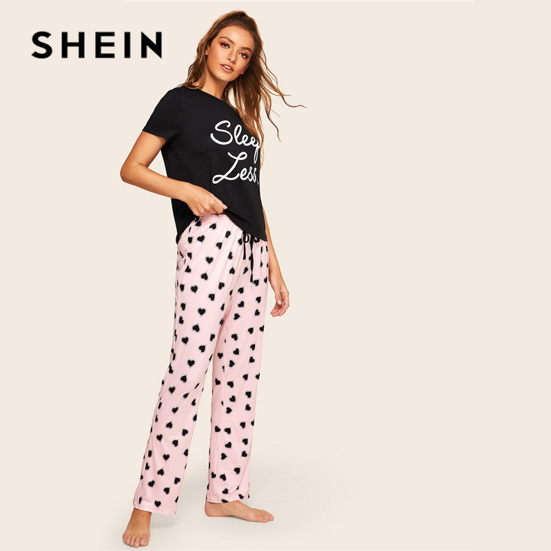 03290d9c40 Aliexpress.com : Buy SHEIN Slogan Print Top And Drawstring Waist Heart Pants  Pajamas For Women Spring Summer Casual Lady Short Sleeve Pajama Set from ...