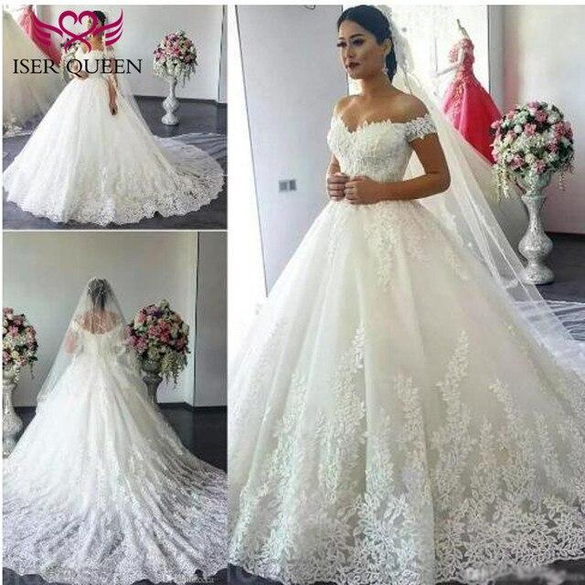 Short Cap Sleeve Arab Dubai Quality Leaves Embroidery Wedding Dress 2019  Plus Size Court train Ball Gown Wedding Dresses W0032 35037d043f08