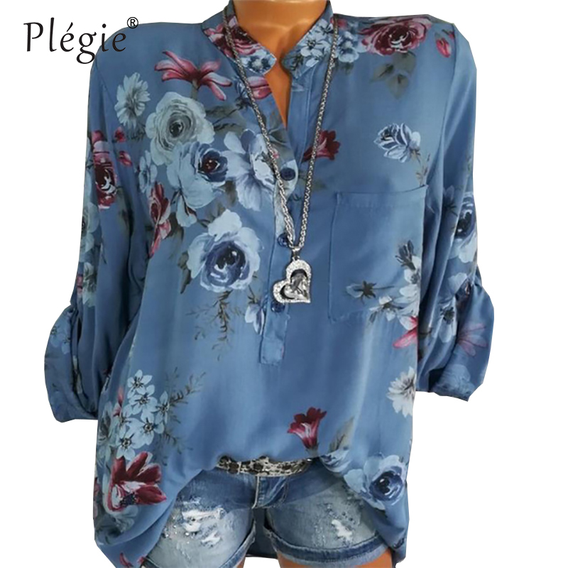 Блузка женская, с длинным рукавом и цветочным принтом
