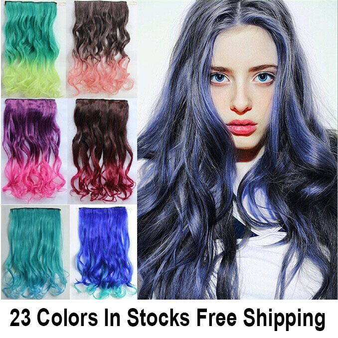 Top Fashion New 20 Colors Rainbow Women Hair Extensions Straight